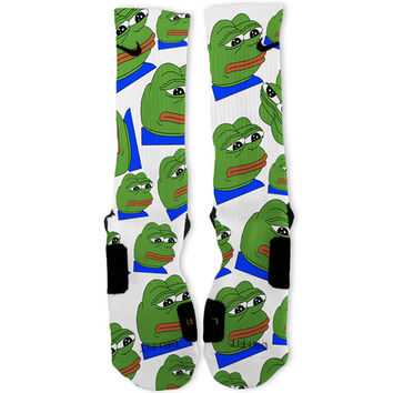 Pepe The Frog Meme Custom Nike Elite Socks