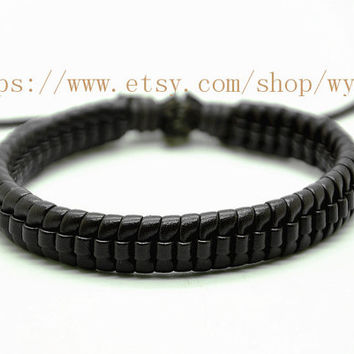 Real Leather Woven Women Leather Cuff Bracelet Men Leather Cuff Bracelet Simple Style Bangle  FL01