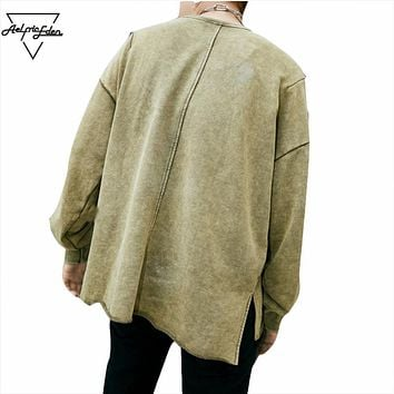 Men Long Sleeve T Shirt Men Solid Color Ripped T Shirts