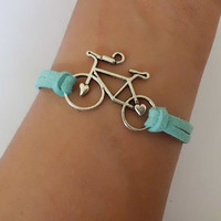Bicycle Charm Bracelet--Antique Silver Bracelet-- and Imitation Leather Braid Bracelet--Best Friendship Gift-bestfriend bracelet