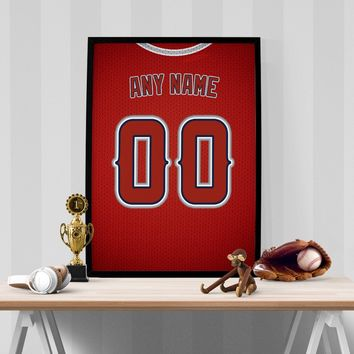 Los Angeles Angels Jersey Poster - Print Personalized Select ANY Name & ANY Number