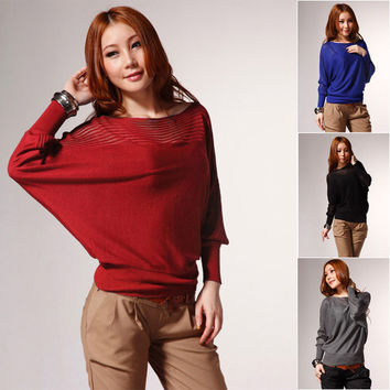 Women's Fashion Loose Bat Wing Long Sleeve Boat Neck Hollow Out Stitching Thin Knitted Sweater Shirt - 4 Great Colors!