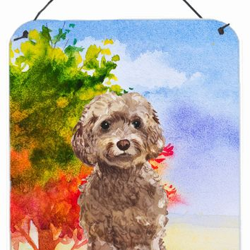 Fall Chocolate Labradoodle Wall or Door Hanging Prints CK1953DS1216