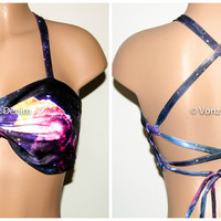 PADDED Galaxy Twisted Criss-Cross Bikini Top, Adjustable Lace Up Back Bandeau, Spandex Swimwear Bandeau Bikini