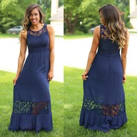 Noteworthy in Navy Maxi Dress - Blu Pepper