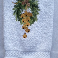 Christmas Bath Towel With Pine Wreath, Pine Cones With Golden Bells Hanging