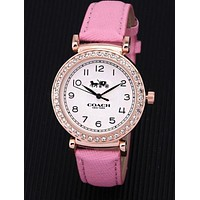 """COACH"" Trending Women Men Diamond Movement Quartz Watch Wristwatch Pink"