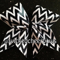 Cheer Bow - Black & White Shiny Chevron