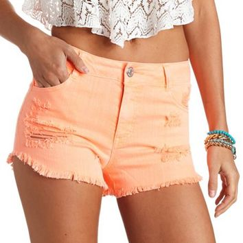 COLORED HIGH-WAISTED DENIM SHORTS