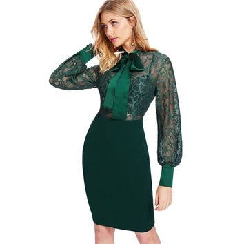 Women Green Long Sleeve Waist Pencil Dress Bishop Sleeve Floral Lace Fitted Dress