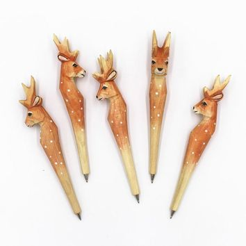 Handmade Wood carve vintage forest Giraffe spotted dear Ballpoint pen Party Favor Gift Office Stationery School Writing Supplies