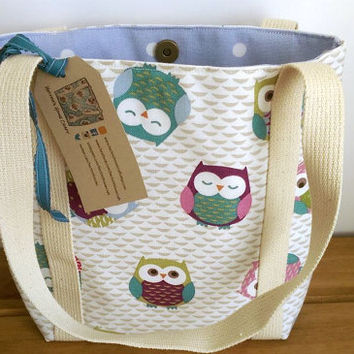 Owl Bag Small Tote Bag Shoulder Bag Lined Owl Bag Long Handled iPad Bag Fabric Bag
