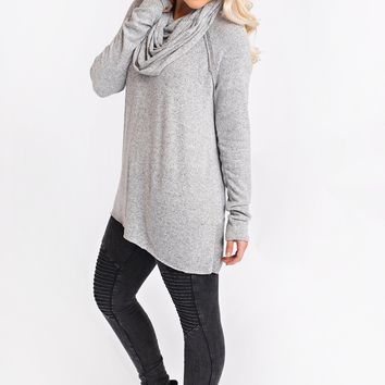 Shine Through Cowl Neck Tunic (Heather Grey)