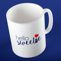 """Doctor Who - River Song """"Hello Sweetie"""" Heart and TARDIS Ceramic Mug"""