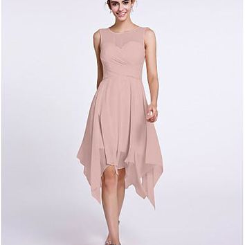 A-Line Scoop Neck Knee Length Chiffon Bridesmaid Dress with Criss Cross by LAN TING BRIDE®