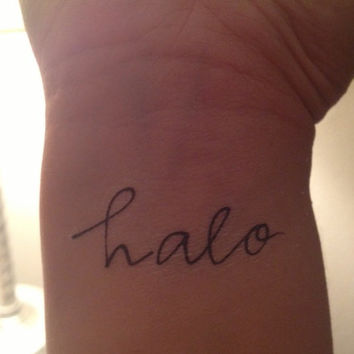 Temporary Handwritten Halo Tattoo