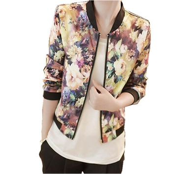 Women's Fashion Coats Stand Collar New Girls Outerwear Long Sleeve Floral Printed Bomber Jacket Spring Autumn Basic Coat Oct29