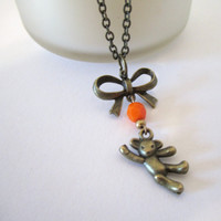 Teddy Bear Necklace - Antique Brass with Bow by 636designs