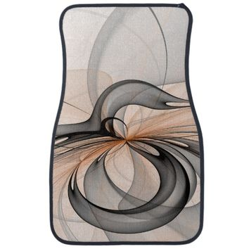 Abstract Anthracite Gray Sienna Shapes Fractal Art Car Floor Mat