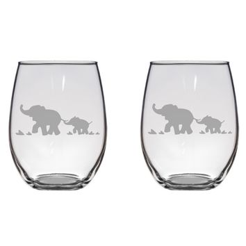 Mother and Baby Elephant Glasses, Cute, Gift, Glass Free Personalization