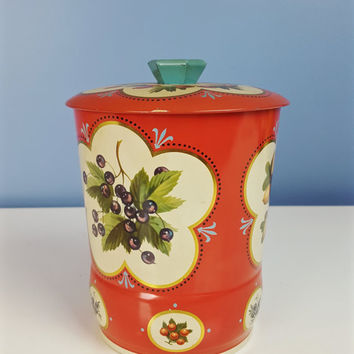 Vintage Collectible Candy Tin Red Turquoise Cream Berries Acorns Floral Pattern Large Tea Tins Storage Shelf Decor Shabby Chic Farmhouse