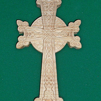 "CROSS - wooden carving. Size: 10""x5.5"". Ready to Hang.  Wall art, Wall cross, Christian"
