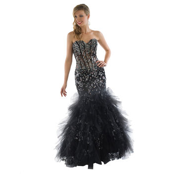 Daniella Couture Women's Black Rhinestone-embellished Princess Gown