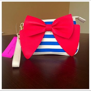 🍒NWT Betsey Johnson Wristlet Bow Striped Cherries