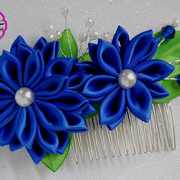Kanzashi Flower  , Blue ribbon flower , tone comb flower clip , Ribbon flower hair accessory