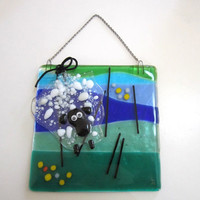 "Fused Glass Art ""A Sheep in the Field"" - Wall Art"