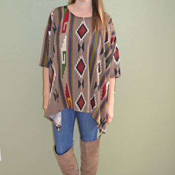 Taking Chances Tribal Print Top: Mocha