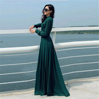 Fashion Style 2015 Women Long Casual Dresses Solid Green Elegant Party Evening Stand Collar Long Sleeve Maxi Dresses DS-166
