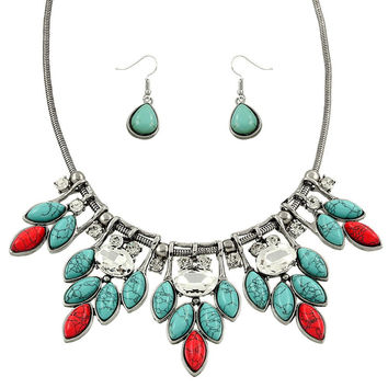 Turquoise and Coral Statement Necklace Set in Silver