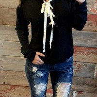 Lace Up Hoodie: Black