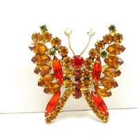 Juliana Rhinestone Brooch Orange Red Green  Butterfly Pin D&E Gold Tone Pin Crystal Pear Navette Stones High End Vintage Jewelry Designer