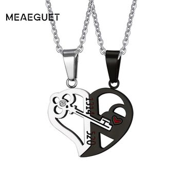 "Silver Gold Crystal Heart Key Necklace Pendant Couple Love Forever Wedding Stainless Steel Men and Women Gifts Jewelry 24"" Chain"