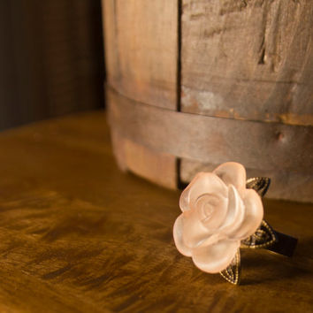 Pink Flower Statement Ring
