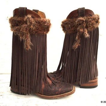 Cowgirl Boots, Gunmetal Brown Fringe, Fringe Boot Covers, Fringe Boots, Boho Boot Covers, Boho Boot Cuffs, Cowgirl Boot Covers,