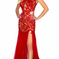 Mac Duggal 61041R   Lace Prom Dress   Terry Costa: Prom Dresses Dallas, Homecoming Dresses, Pageant Gowns