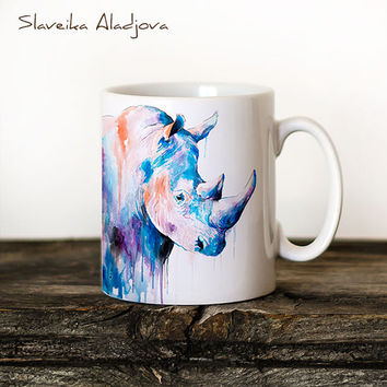 Rhino 2 Mug Watercolor Ceramic Mug Elephant Unique Gift Coffee Mug Animal Mug Tea Cup Art Illustration Cool Kitchen Art Printed mug