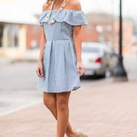 The Tayler Dress, Blue-White