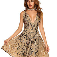 Women Sexy Backless Dress Lace Skater Flare Cocktail Party Dress Deep V Neck