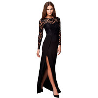 RB70196 Hot selling black lace women  sexy  dress o-neck long sleeve floor length party dresses plus size women long dress 2017