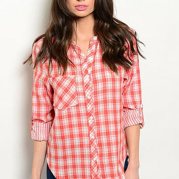 Red and White Plaid Checked Top