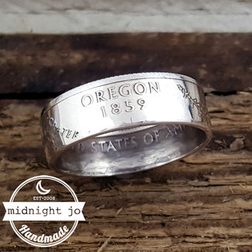 Oregon 90% Silver State Quarter Coin Ring