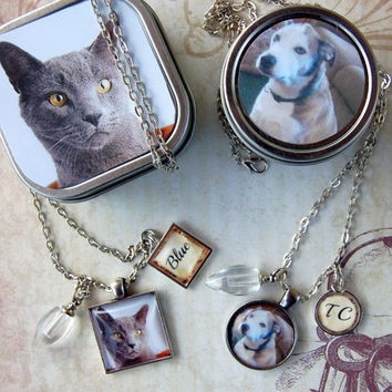 Pet Memory Pendant and Cremation Urn Loss of Pet Necklace with Photo Gift Tin for Pet's Ashes for Pet Lovers Dog Cat Moms and Dads