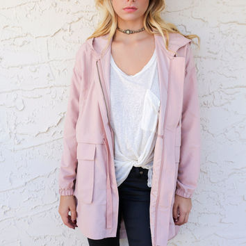 Warm Up To Me Blush Hi-Low Hooded Jacket