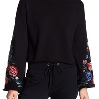 PLANET GOLD | Floral Embroidered Bell Sleeve Sweatshirt | Nordstrom Rack