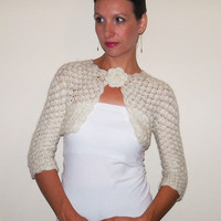 Ivory BRIDAL BOLERO  / WEDDING Lace Shrug / Angora Crochet Bolero Shrug / lace Wedding Bridal Shrug / Crochet Angora Bolero Jacket