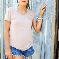Sunday Brunch Basic Beige Light Acid Wash V-Neck Tee